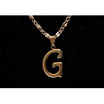 Corrente Cordão 64cm + Pingente Letra G Folheado Ouro 18k