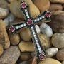 Pingente Crucifixo Prata Turca 925 4,5 Cm Pedra Vermelhas