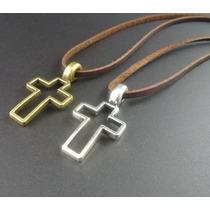 Colar Cordão Crucifixo Couro Cruz Masculino Feminino