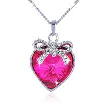 Conjunto Colar Feminino + Pingent Coração Prata 925 Zirconia