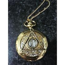 Colar Relogio De Bolso Harry Potter Reliquias Da Morte