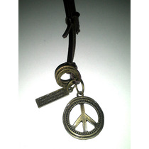Colar Com Simbolo Da Paz Mundial Couro Regualvel Militar