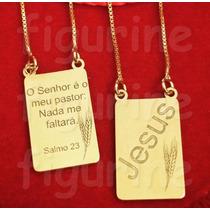 Escapulário Salmo 23 O Senhor É Meu Pastor... Banhado A Ouro