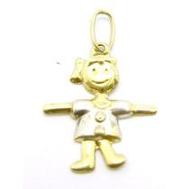 Joianete E9315-74498 Pingente Menininha Ouro Branco Vestido
