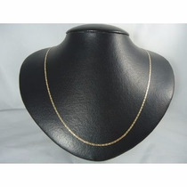 Colar Corrente Piastrine Maciça 50cm Em Ouro 18k-750