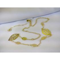 Colar Cordao Folheado Ouro 18k Feminino Folha Elegante Novo