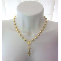 Colar Terço Feminino Corrente Crucifixo Folheado Ouro 18k
