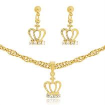 Gargantilha Em Ouro 18k Feminina + Pingente De Coroa Ouro