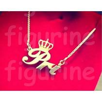 Colar De Nome Personalizado Dourado Com Coroa Na Letra