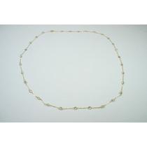 Swjoias Gargantilha Pedras Brancas Zirconia Ouro 18k 750