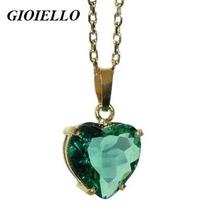 Pingente Coração Folhado Ouro Cristal Cor Paraíba Verde