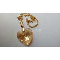 Colar Cristal Swarovski Coração Golden Shadow Folh. Ouro 18k