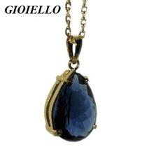 Pingente Corrente Folhado Ouro Cristal Cor London Blue 3031