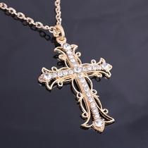 Colar Corrente Pingente Grande 7x5cm Crucifixo Cruz Banhado