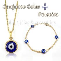 Conjunto Colar + Pulseira Olho Grego Folheado À Ouro 18k