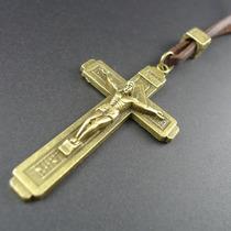 Colar Cordão Masculino Feminino Couro Cruz Crucifixo Dourado