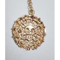Colar Caveira Piratas Do Caribe Dourado (medalha Azteca)