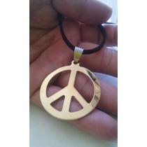 Cordão Couro E Camurça Simbolo Da Paz Em Banho De Ouro+brind