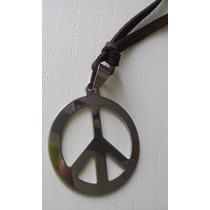 Cordão De Couro Com Simbolo Da Paz Inox Em Prata Durável+bri
