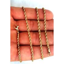 Conjunto 2 Cordões Aço Alta Resistência + Aliança Cor Ouro