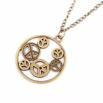 Colar Simbolo Da Paz Corrente Ouro Velho Símbolos