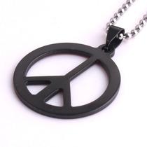 Colar Símbolo Da Paz Hippie Aço Cirúrgico 316l