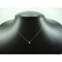 Ponto De Luz De Ouro Branco 18k Com Diamante Jr Joalheiro