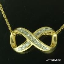 Simbolo Infinito/oito Colar De Diamantes Em Ouro 18k Maciço