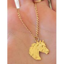 Cordao De Ouro Amarelo Com Pingente De Cavalo 18k-750