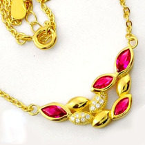 Colar De Prata 925- Quartzo Rubi E Topázio Branco- Ouro 14k