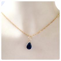 Gargantilha Pingente Gota Azul Safira Oriental Joia Ouro 18k
