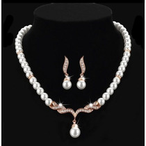 Conjunto Duquesa Com Pérolas Folheado A Ouro Rosê Luxo