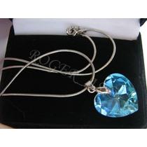 Colar Coração Cristal Swarovski Blue Ab 2,0cm - Prata 925