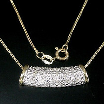 Corrente Ouro 14 K Plated Prata 925 24 Diamantes Natural-