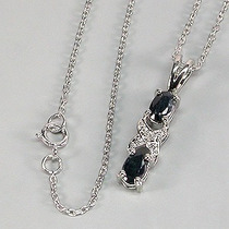 Colar Corrente Prata 925 E Safira E Diamante
