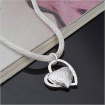 Lindo Colar Corrente Em Prata 925 Com Pingente Coração.