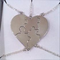 Conjunto 5 Correntes Em Prata 925 Cara-metade Familia Amigos