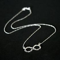 Colar / Cordão Prata C/ Símbolo Infinito Escrito Amor Eterno
