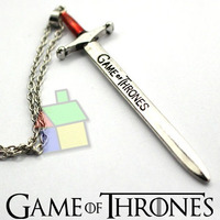 Colar Game Of Thrones Replica Espada Gelo Fogo Stark Cordao