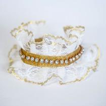 Coleira Em Renda Branca/dourada Com Strass De Cristal