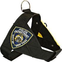 Peitoral Pitbull Policia Ny + Guia Em Nylon Caes N.4 #1m7b