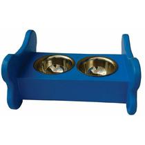 Comedouro / Bebedouro Em Madeira Azul Para Cães E Gatos