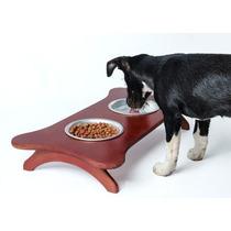 Comedouro Duplo Para Cães E Gatos Suporte Madeira 2l