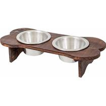 Comedouro/bebedouro Aluminio C/suporte Madeira Cães/gatos