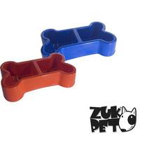 Comedouro Bebedouro Duplo Plástico Osso Pet Cães Gatos