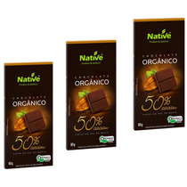 Kit Páscoa 3 Chocolate Orgânico Native 50% Cacau, Sem Ovo