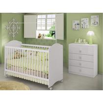 Quarto Infanti Berço Cômoda 4 Gavetas Quarto Branco Estrela