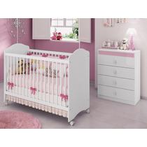 Quarto Infanti Berço Cômoda 4 Gavetas Quarto Rosa Estrela