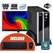 Mini Cpu Dual Core,4gb Ram,500gb Hd, Monitor +kit Teclad +w7