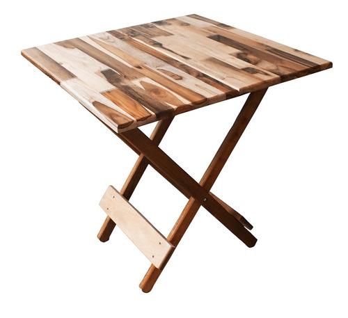 Conjunto 1 Mesa E 4 Cadeiras Dobráveis Madeira Nobre Maciça